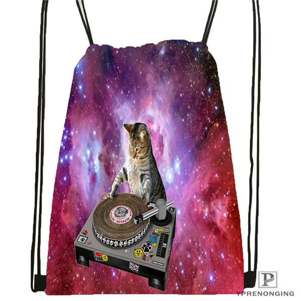 Custom Spacecat  (36)@1  Drawstring Backpack Bag Cute Daypack Kids Satchel (Black Back) 31x40cm#180612-03-cat