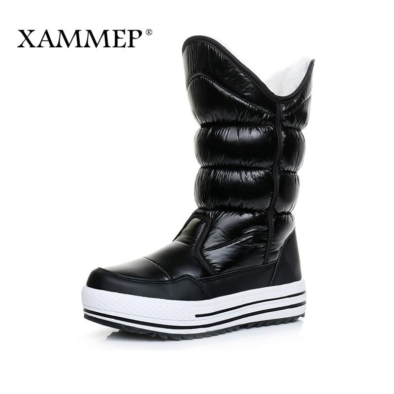 Xammep Brand Women Winter Shoes Plus Big Size Knee High Boots High Quality Women Shoes Warmful Plush And Wool Women Winter Boots недорго, оригинальная цена