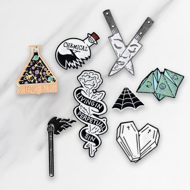 Hot Sale Dagger Knife Matches Cobweb Flower Rose Heart Coffin Punk Pins Enamel Brooch For Women Men Unisex Accessories