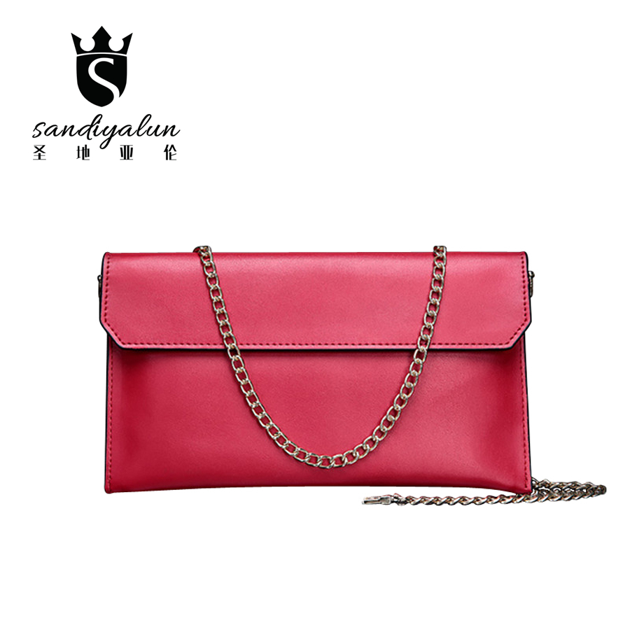 Women Casual Day Clutches Bags Genuine Leather Crossbody Bag Messenger Bags Envelope Chain Evening Party HandBag osmond fashion women handbag bags sets stone leather crossbody messenger bag shoulder bag day clutches wallet
