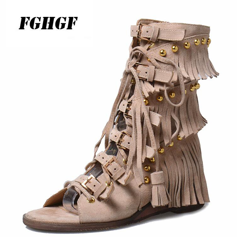 Ladies Tasseled High Top Shoes Gladiator Summer Rome Style Comfortable Wear Travel Leisure Suitable Wear Ladies