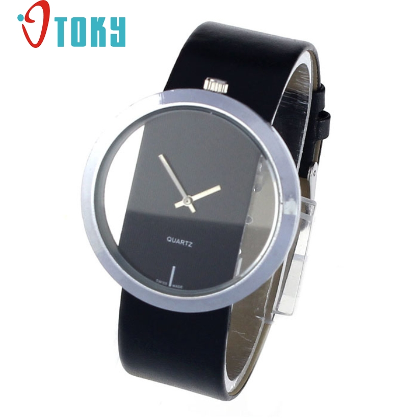 Creative Fashion 1PC Watches Women Faux Leather Transparent Dial Hollow Analog Quartz Watch Women  Luxury relogio masculino