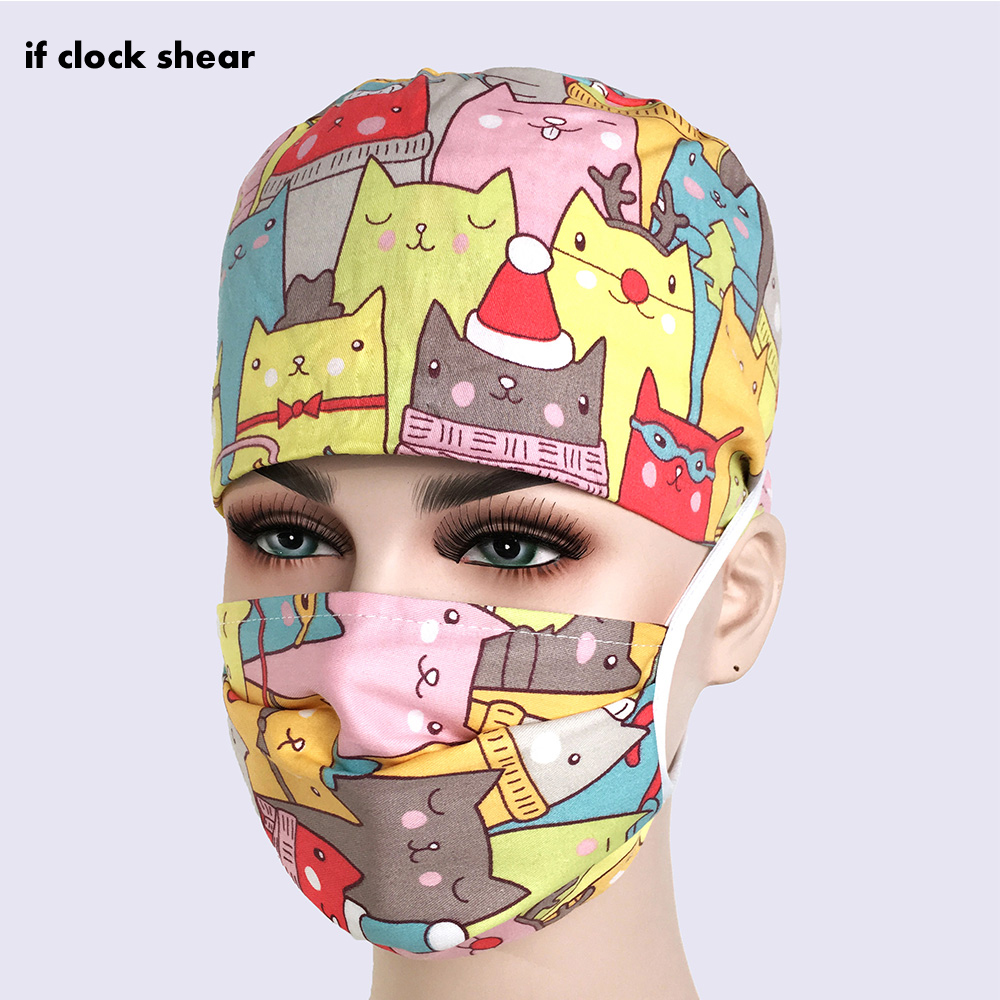 New Surgical Cap Pharmacy Medical Scrub Surgery Caps Nurse Doctor Hat Unisex Adjustable Medical Scrub Clinic  Medical Clothing