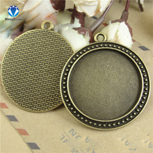 MINGXUAN 10pcs/lot Innner 30mm Vintage Antique Bronze Pendant Round Blank Alloy Base Setting Glass Double Tray C748