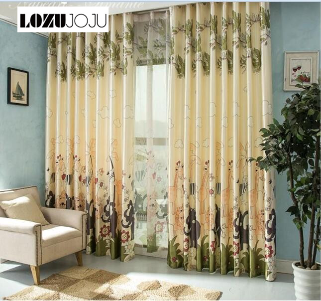 LOZUJOJU Free Shipping Cartoon Design Zoo Printed Curtain Tulle Blackout Full Blind Curtain For Kid Bedroom Ready Made Curtains
