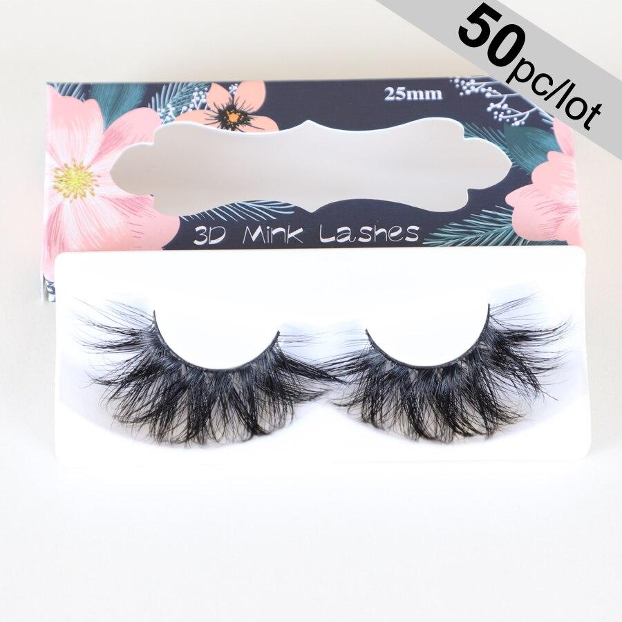 Lanflower Dramatic 25mm Lashes Long Fluffy 50 Pairs 3d Mink Lashes Wholesale 25mm Mink Eyelashes Makeup