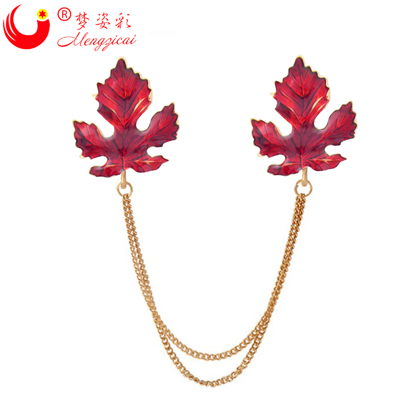 MZC New Red Cheap Crystal Jewelry Link Chain Red Maple Leaf  Brooch Brand Flower CC Collar Pin For Men Accessories X1803
