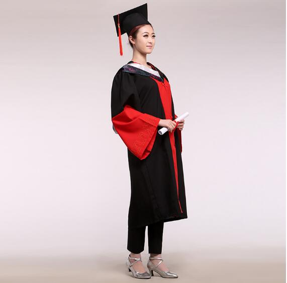 Graduation Student Uniform Doctor service dress gown fabric bachelor of clothes hat master service  Doctoral Academic Dress Gown gown