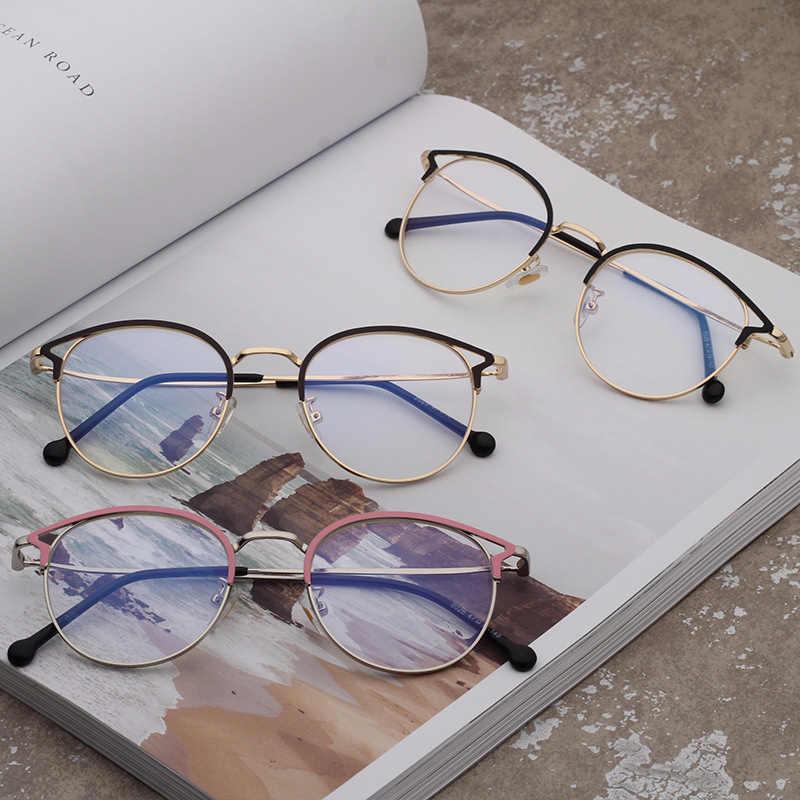 be937d6fcd5 ... DIDI Fashion Women Glasses Frame Hollow Thin Metal Cat Eye Optical  Frames Eyeglasses Ladies Round Clear
