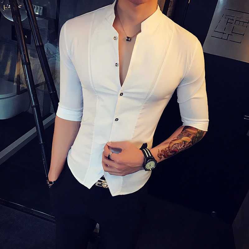 Stand Collar Chinese Style Shirt Men Slim Fit Korea Clothes Men Half Sleeve 2018 Summer Designer Club Shirt Camisa Masculina