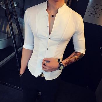 Stand Collar Chinese Style Shirt Men Sli...