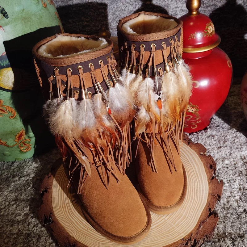 Feather Long Boots Womens 2018 Winter New Handmade Genuine Leather Tassel Retro National Style Female Cotton