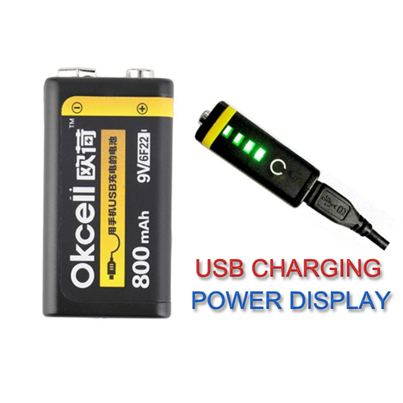 OKCELL OKcell 9V Bateria Recarregável 800mAh USB Portátil Micro USB Baterias Para RC Helicóptero Modelo de Bateria do Microfone