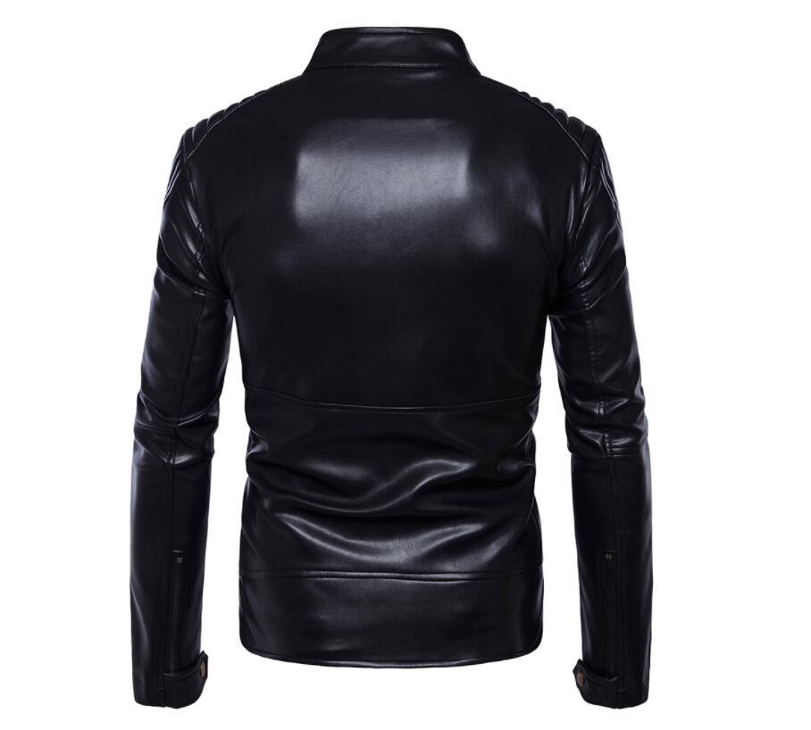 Vestes en cuir pour hommes, veste en cuir pour hommes manteau en cuir pour moto mince vêtements pour hommes stage personnalisé mode street noir - 3