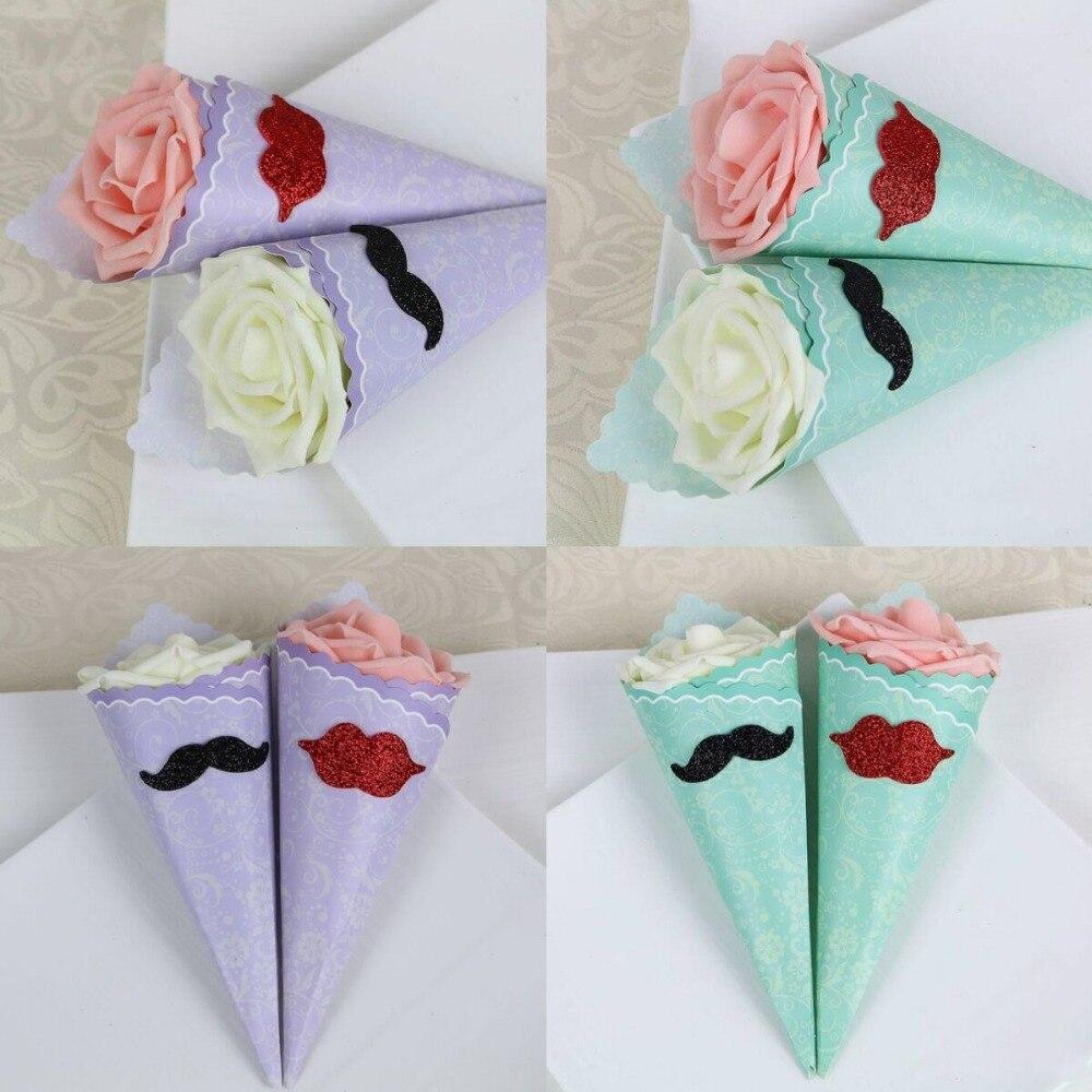 50 x white/pink/purple/Green Cones Holder Ice Cream DIY Rose Candy ...