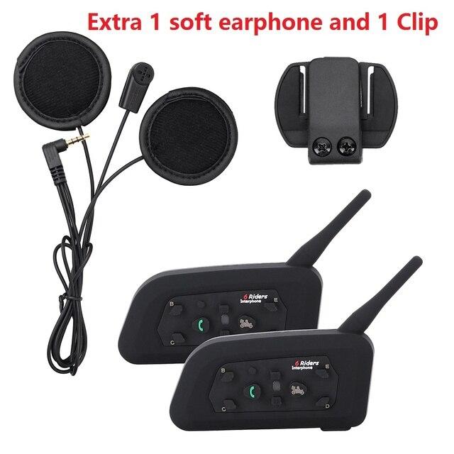 Extra 1 suave auricular y clip + 2 unids v6 casco de la motocicleta intercom headset bluetooth moto 6 riders interphone de bt