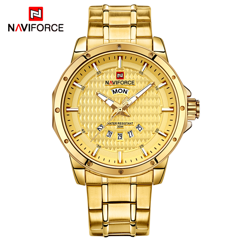 NAVIFORCE Luxury Men Gold Watches Men's Stainless Steel Quartz Wrist Watch Male Sports Waterproof Date Clock Relogio Masculino new men stainless steel gold watch luxury brand auto date mens quartz clock roman scale sports wrist watches relogio masculino