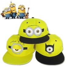 33edf5eb540 Cartoon Minions Cap Cosplay Hat Yellow Embroidery Big Eye Adjustable  Hip-hop Baseball Caps Women