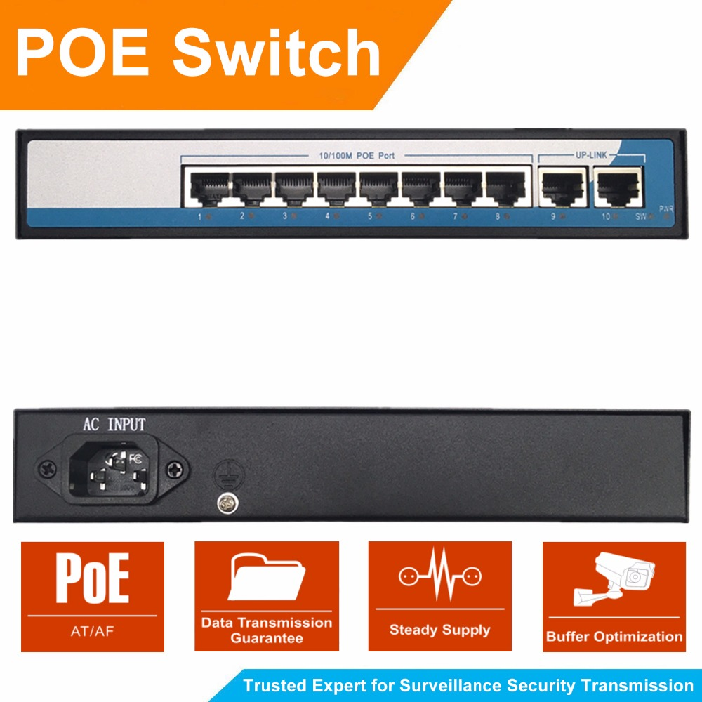 8 Port 100Mbps IEEE802.3af POE Switch/Injector Power over Ethernet Network Switch for IP Camera VoIP Phone AP devices 2 Up-link cctv 4 port 10 100m poe net switch hub power over ethernet poe
