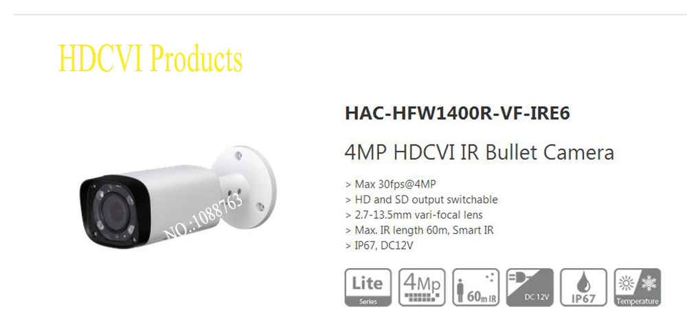 Free Shipping DAHUA Security Camera CCTV 4MP HDCVI IR Bullet Camera IP67 without Logo HAC-HFW1400R-VF-IRE6 free shipping dahua cctv camera 4k 8mp wdr ir mini bullet network camera ip67 with poe without logo ipc hfw4831e se