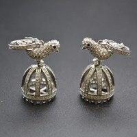 15x40mm 925 Silver Paved CZ Crown Shape Cute Bird Bead Caps Fit DIY Tassels Pendant Necklace