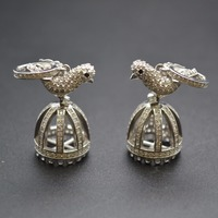 15x40mm 925 Silver Paved CZ Crown Shape Cute Bird Bead Caps fit DIY Tassels Pendant Necklace making Jewelry Findings