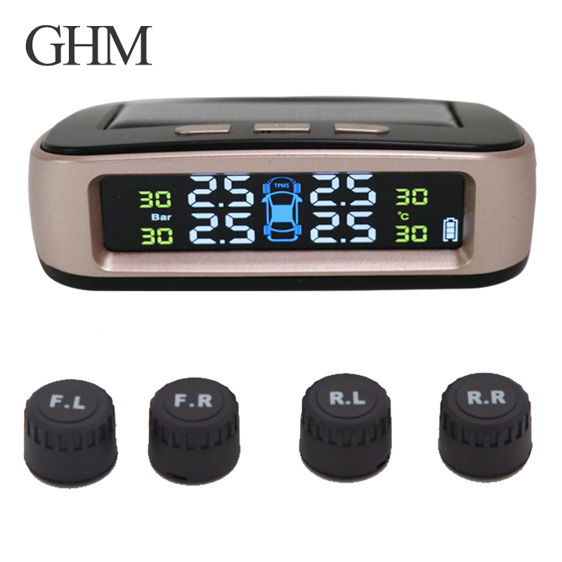 Tire Pressure Monitoring System Tpms Sensorsolar Car Security Smart Tyre Control Wireless 4 Wheels External Internal Sensors Usb-in Tire Pressure Alarm from Automobiles & Motorcycles    1