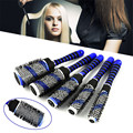 Professional 5Pcs Salon Blue Round Hair Curling Brushes Hairdressing Curler Barbers Combs For Hair Styling Tools