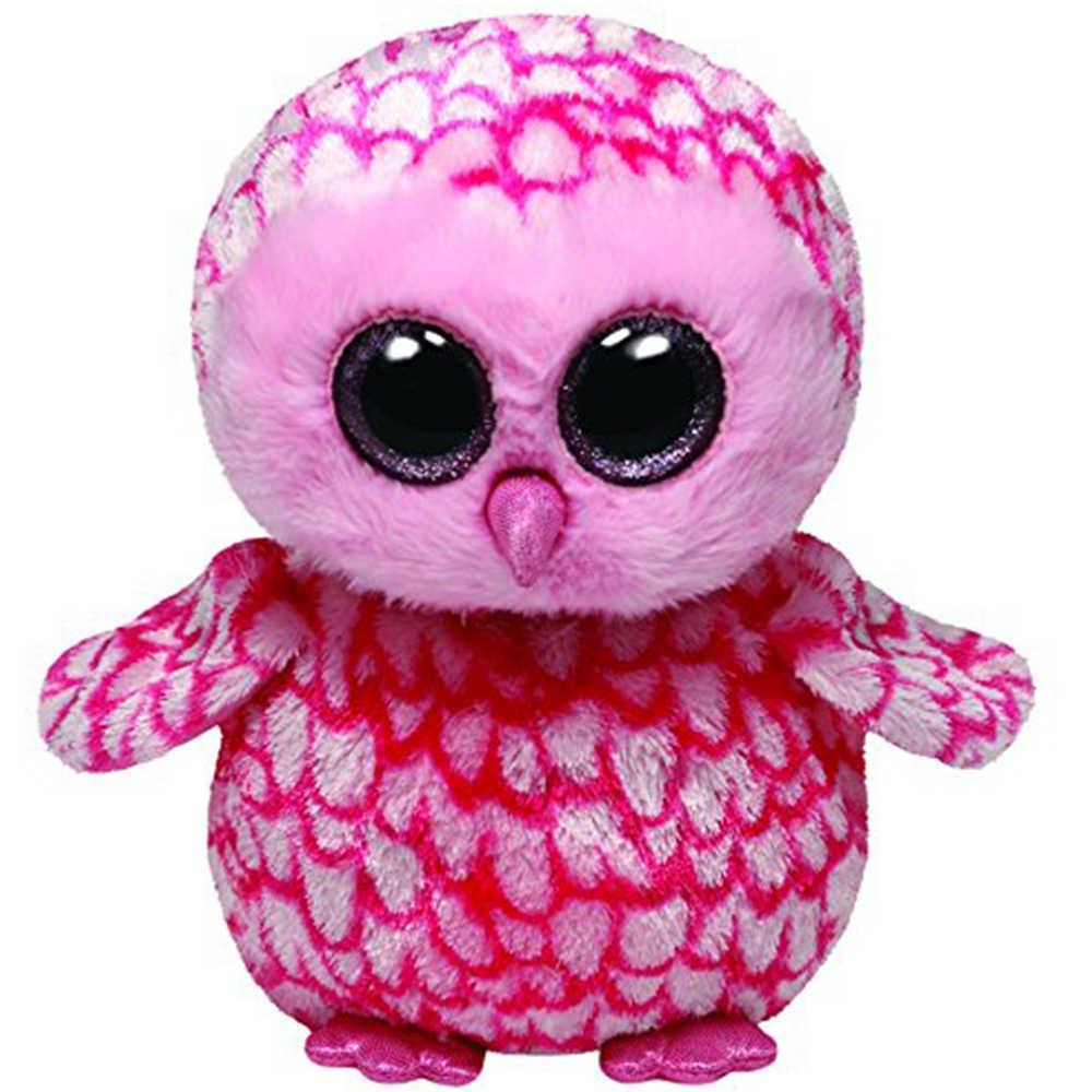 """Pyooepo Оригинал Ty Boos 10 """"25 см мизинец сарай плюшевая Сова Средний Большой глазый чучело Коллекционная кукла игрушка с биркой в виде сердца"""