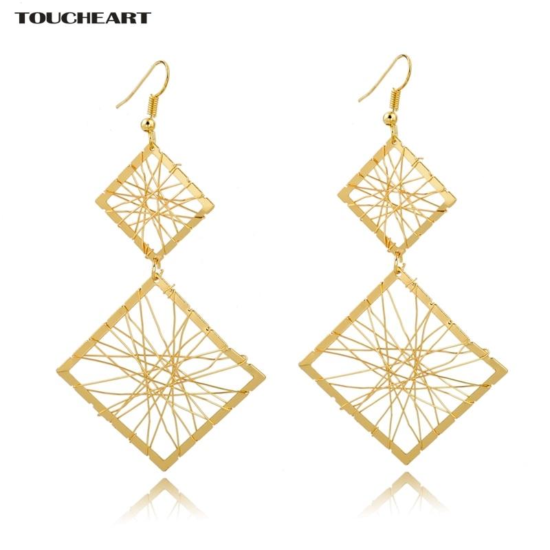 Купить женские серьги toucheart винтажные золотого цвета с двойными