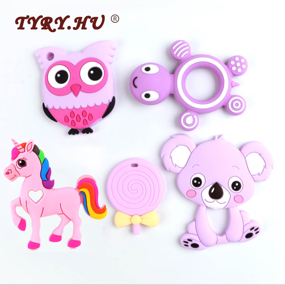 TYRY.HU Baby Silicone Teethers BPA Free Teething Toy Animal Dog Koala Owl Elephant Baby Ring Teether Silicone Beads DIY Chain(China)