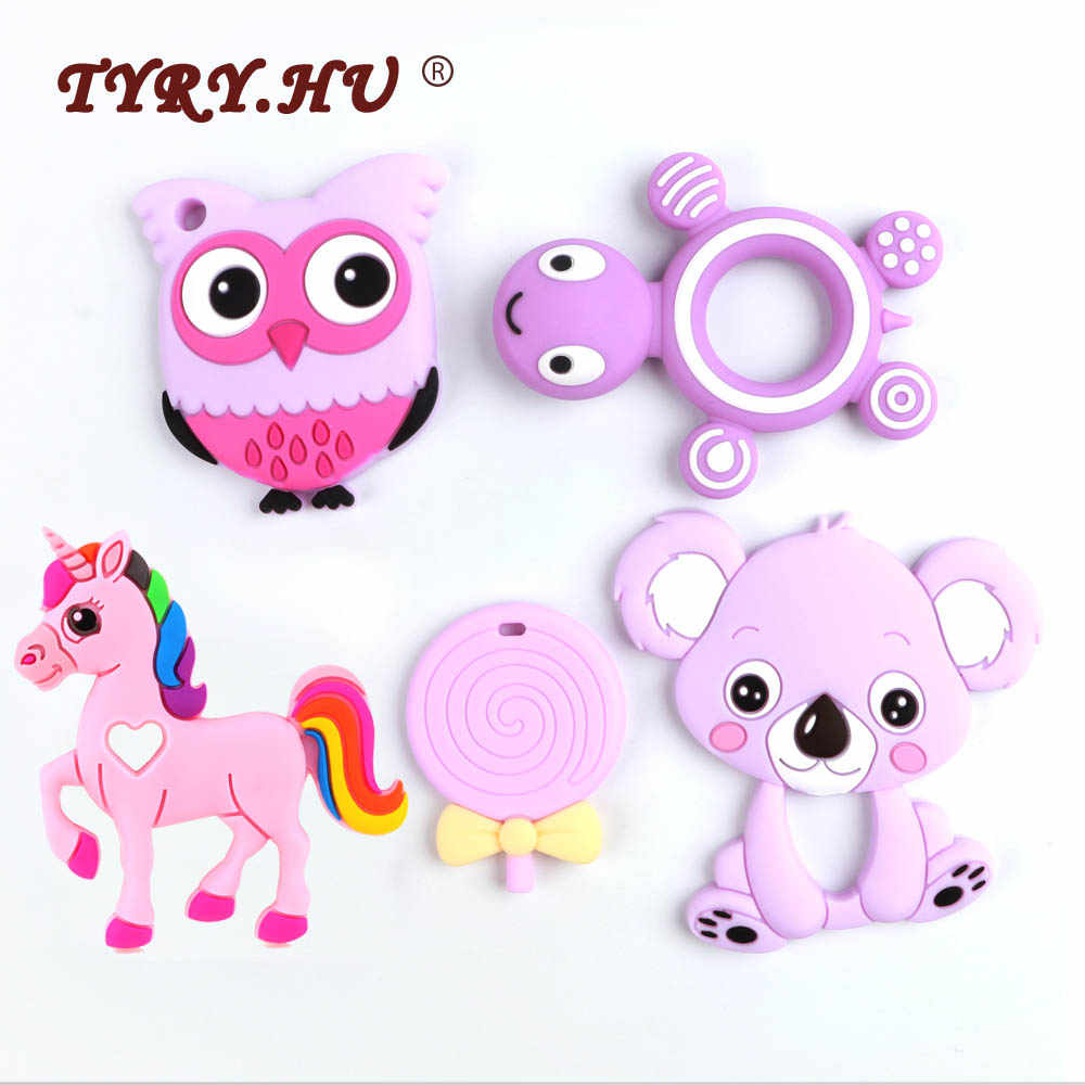 TYRY.HU Baby Silicone Teethers BPA Free Teething Toy Animal Dog Koala Owl Elephant Baby Ring Teether Silicone Beads DIY Chain