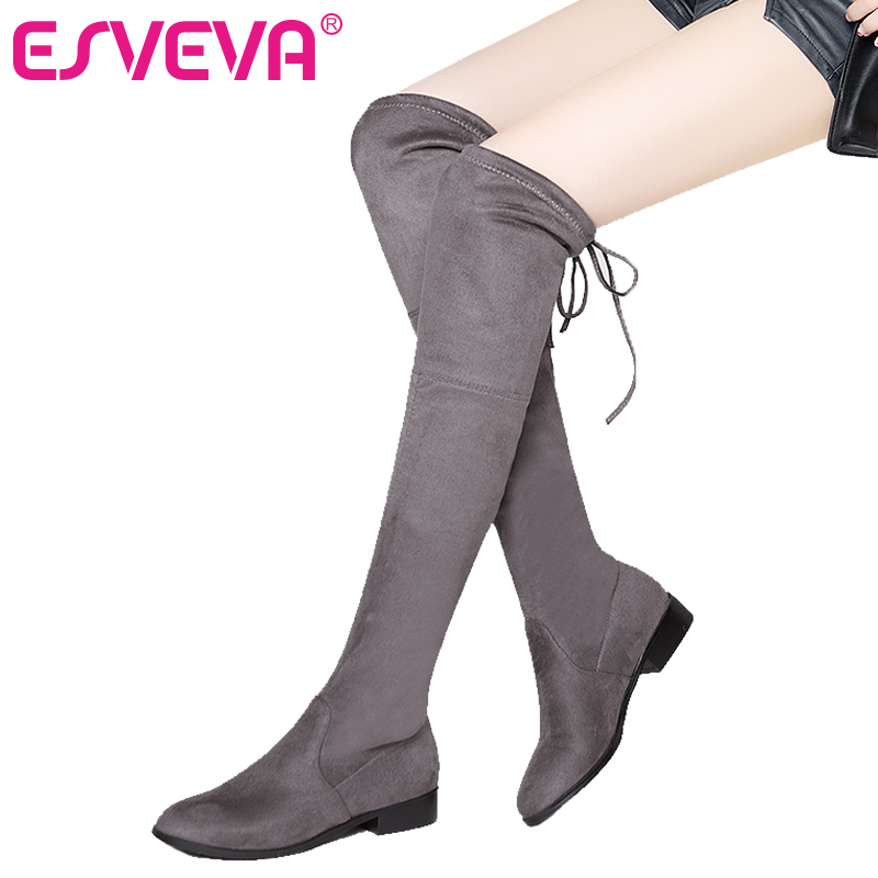 ESVEVA 2018 Over The Knee Boots Warm Fur Women Boots Sexy Ladies Lace Up Square Med Heel Winter Fashion Boots Black Size 34-43 esveva 2017 western style flock women boots over the knee boots winter square high heel ladies lace up fashion boots size 34 43