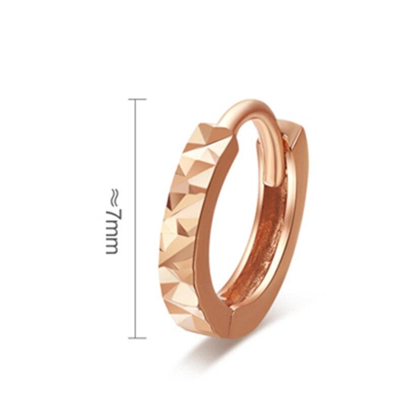 VOJEFEN Mini Cute 18K Rose Gold Flashed 7mm Round Unisex Hoop Earrings Hypoallergenic Earrings Making 2019 in Earrings from Jewelry Accessories