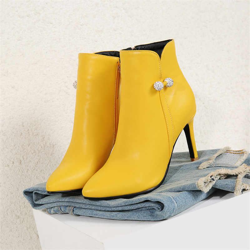 Meotina Kadın Çizmeler yarım çizmeler Kadınlar için 2019 Sonbahar Yüksek Topuklu kısa çizmeler Kış Taklidi Bayan Ayakkabı Zip Beyaz Boyutu 44 46