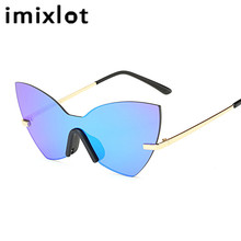 IMIXLOT Fashion Lady Rimless Cat Eye Sunglasses Women New Brand Designer Mirror Sun Glasses Female Vintage Metal Frame Shades