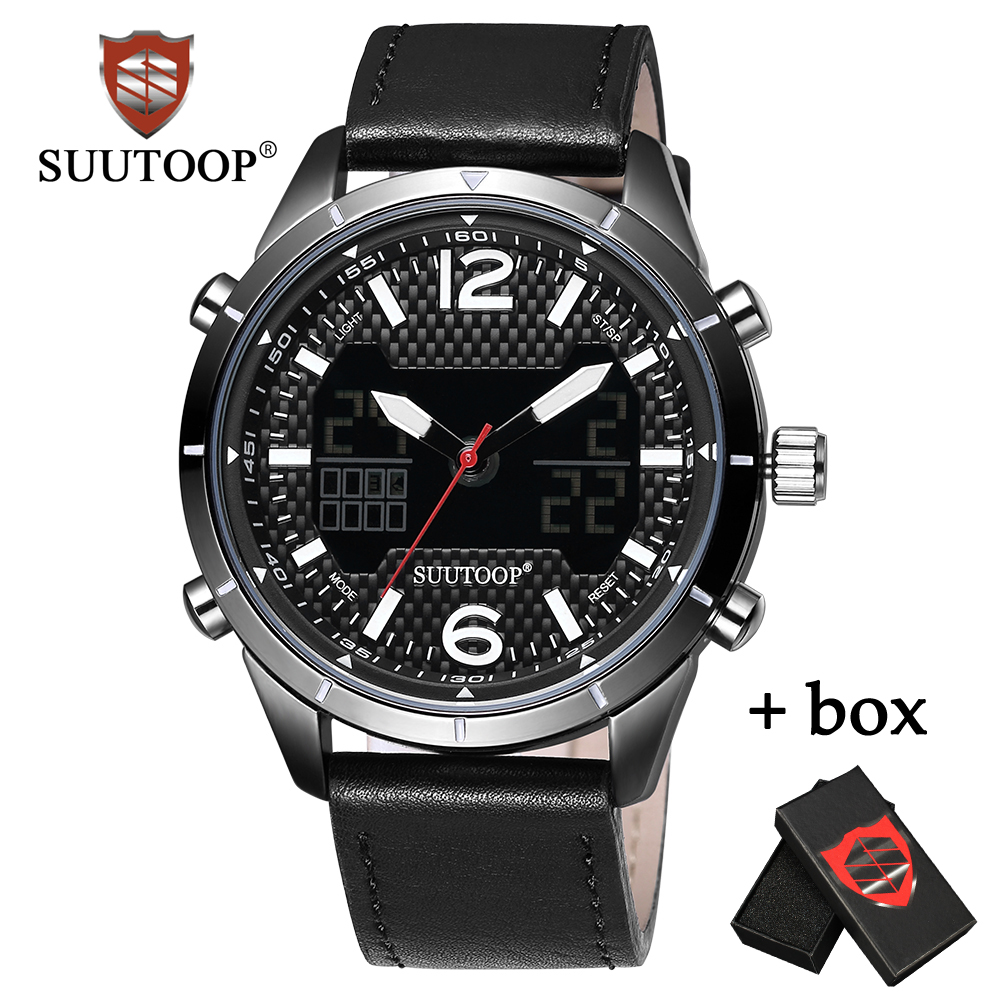 Fashion Men Quartz Digital Dual Display Watches Top Brand SUUTOOP Business Watch Date Week Clock Relogio masculino For gift asj b005 dual movt men quartz digital watch stopwatch display