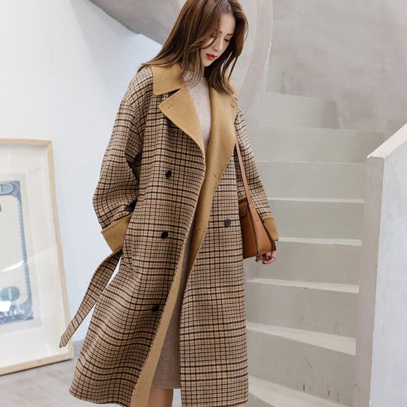Retro Woolen Plaid Coats Women Autumn Winter Oversized Wools Blends Longs Coat Female Outerwear