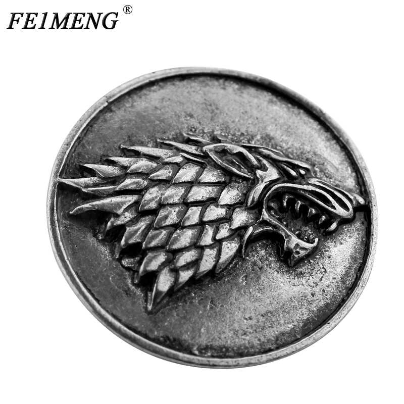 Game Of Thrones Stark Brooch Song Of Ice And Fire Vintage Antique Dire Wolf  Shield Pin 705f3d3185da