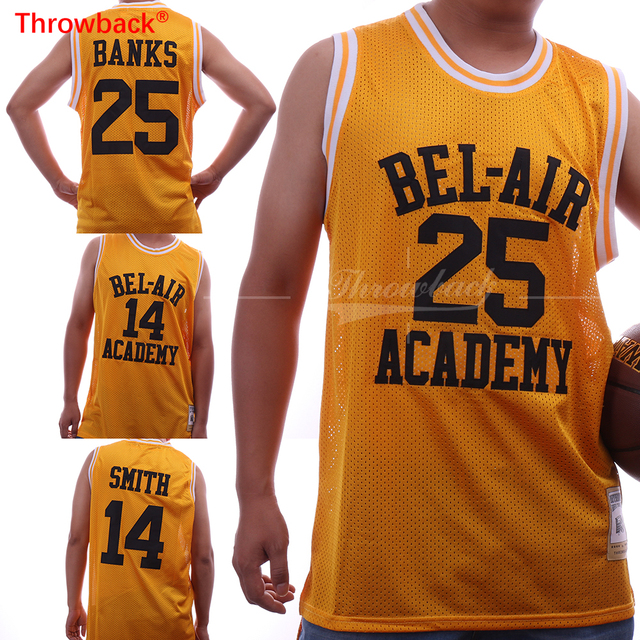 b51e6930c8c6 Throwback Jersey Basketball T-shirts Will Smith  14  25 Carlton Banks Bel  Air Academy Basketball Jerseys