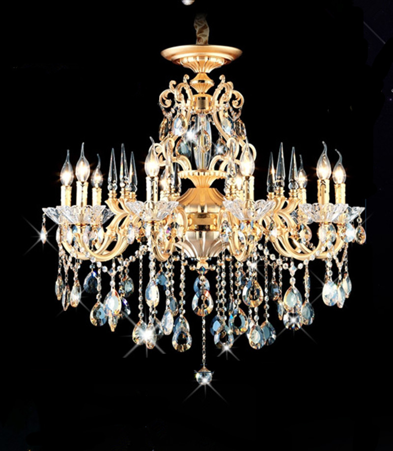 Home gold led Chandelier Crystal lustre lighting shopcase dining room chandelier E14 110-240V Traditional lamparas hanging lamps admin area