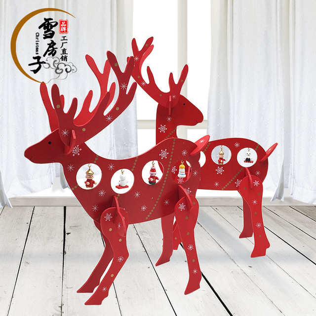 wood christmas reindeer ornaments diy christmas gifts ftis for home hotel showcase desk christmas decorations - Christmas Reindeer Decorations
