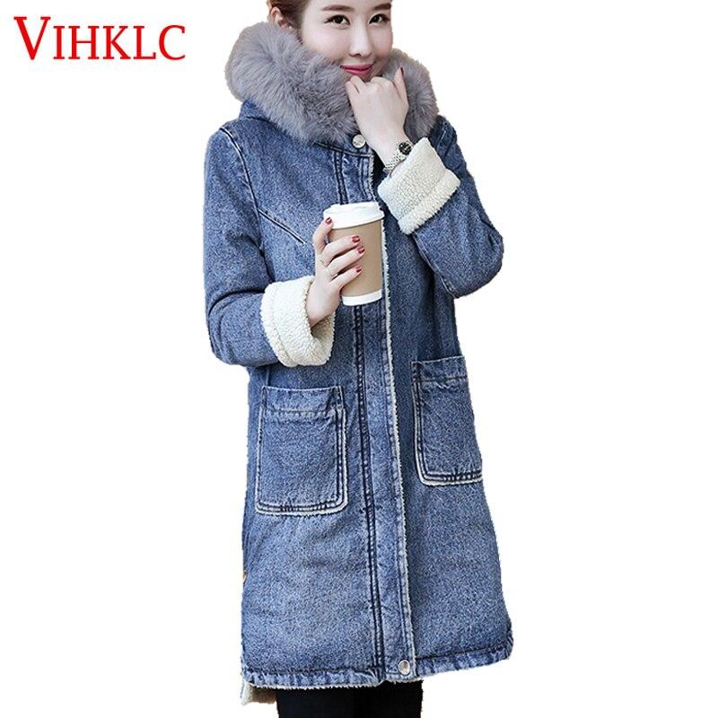 2017 Winter Hooded Fur Collar Cowboy Parka Lambwool Warm Denim Jacket Coat Female Long Coat Thick Loose Womens Coat H596