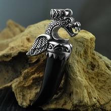 925 пробы серебряная подвеска Птерозавр для мужчин натуральный черный оникс Дракон резной камень тайская серебряная подвеска ювелирные изделия