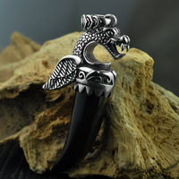 925 Sterling Silver Pterosaur Pendant For Men Natural Black Onyx Dragon Carved Stone Pendant Thai Silver Jewelry