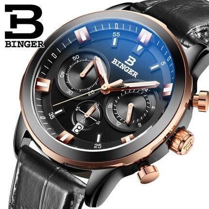 ФОТО 2017 New Fashion Commercial Leather Band Switzerland Quartz Watches Luxury Brand Binger Casual Watch Men Waterproof Wristwatch