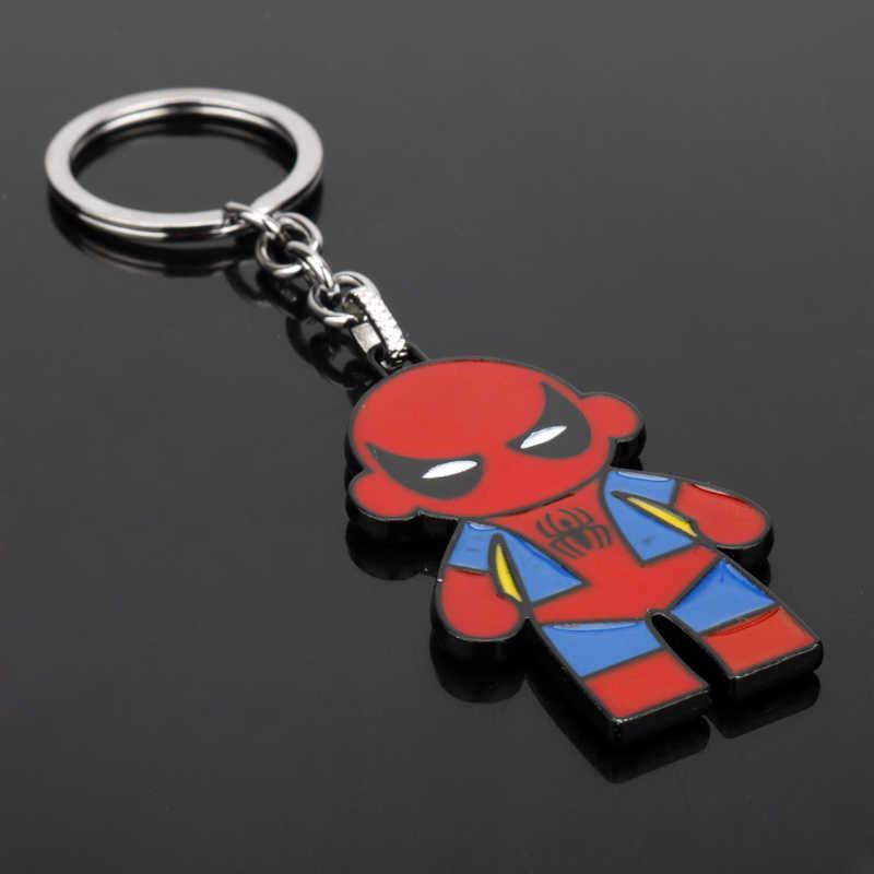 Dongsheng Terbaru Super Hero Spider-man Superhero Spiderman Merah Masker Logam Keyring Keychain Untuk Pria Kunci Mobil Rantai-50