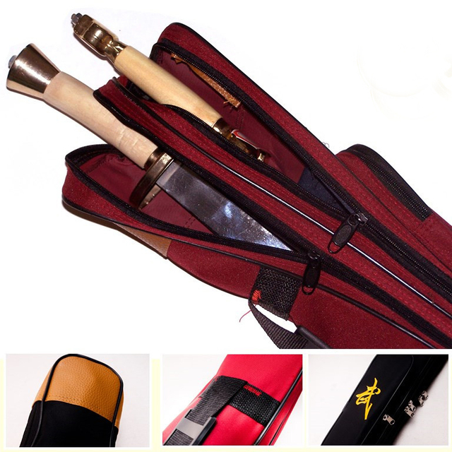 Double Layer Tai Chi Sword Bags Length 110cm Oxford Fabric Wushu Carry Case Weapon