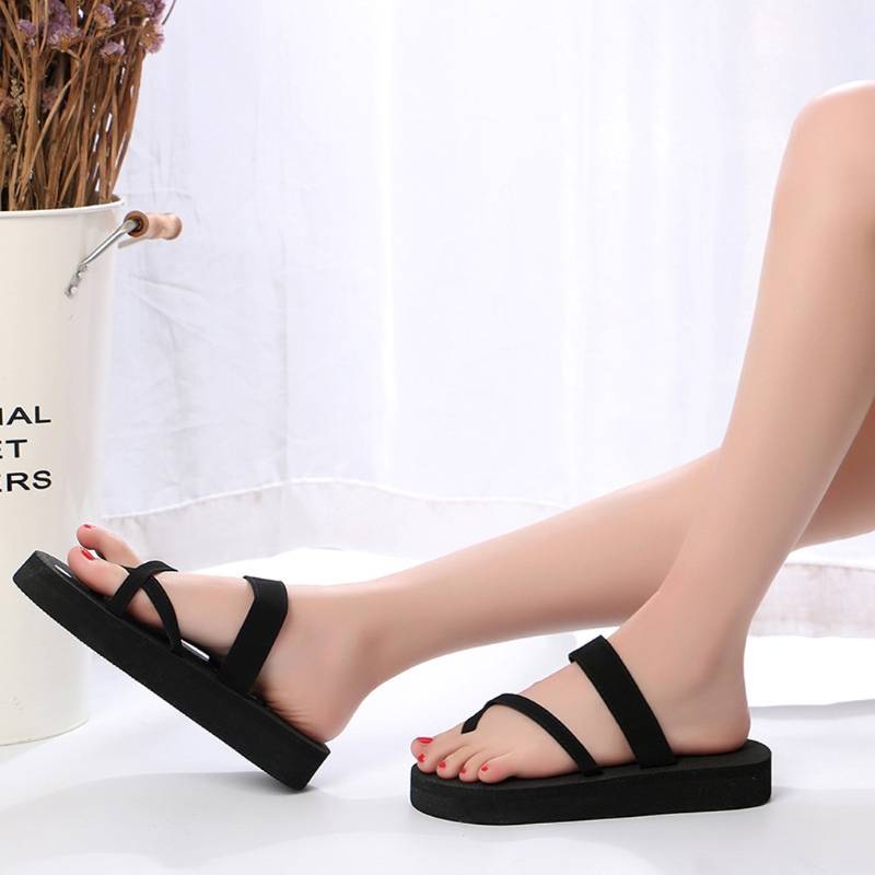 5d634c3cd79 New 2018 Summer Flip Flops Platform Cross Wedges High Heel Beach Sandals  Women Slippers-in Flip Flops from Shoes on Aliexpress.com
