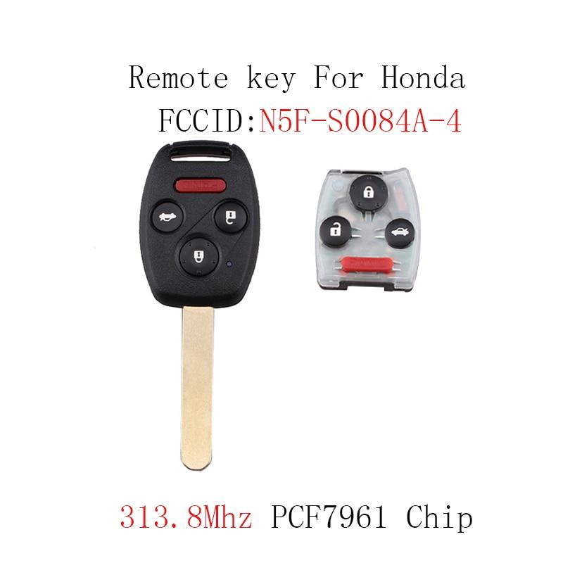 2pcs*313.8Mhz 4BT Remote Car key Fob For Honda Civic EX Si 2006 2007 2008 2009 2010 2011 ...